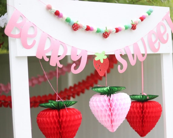 Berry Sweet Banner / Strawberry Banner / Strawberry Birthday Decor / Sweet One / Two Sweet / Twotti Frutti / One in a Melon
