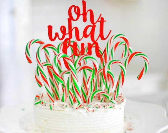 On What Fun Cake Topper / Holiday Party Decorations / Ugly Sweater Party / Christmas Party Decor / Holiday Cake Topper / Be Merry