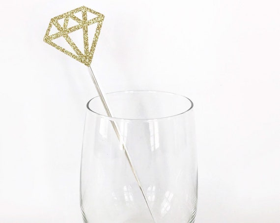 Diamond Stir Sticks / Diamond Ring Drink Stirrers / Bachelorette Party / Bridal Shower Decor / Mimosa Bar / Champagne Bar / Diamond Toppers