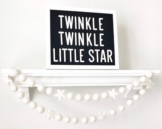 Star Felt Ball Garland / Twinkle Twinkle Little Star Banner / Gender Reveal Garland / Felt Pom Poms / Christmas Garland / Christmas Decor
