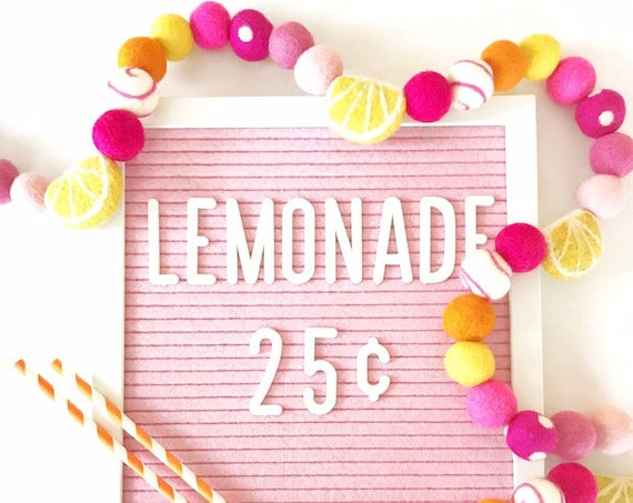Lemonade Felt Ball Garland | Felt Lemons | Pink Lemonade | Lemon Banner | Lemon Decorations | Lemonade Stand Banner