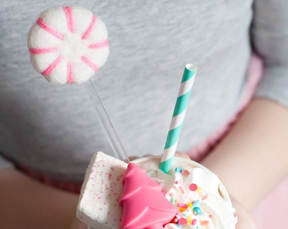 Felt Peppermint Stir Sticks | Acrylic Stir Sticks | Peppermint Cake Toppers | Peppermint Food Picks | Pink Felt Peppermint Candy