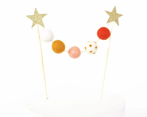 Fall Cake Topper | Thanksgiving Cake Topper | Fall Felt Ball Garland | Pom Pom Garland | Pom Pom Cake Topper | Happy Friendsgiving