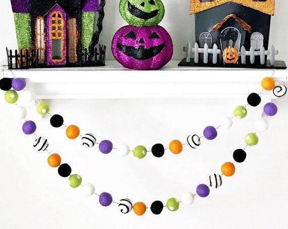 Halloween Felt Ball Garland | Halloween Decorations | Fall Decor | Halloween Garland | Happy Halloween Party | Fall Garland | Spooky | EEK