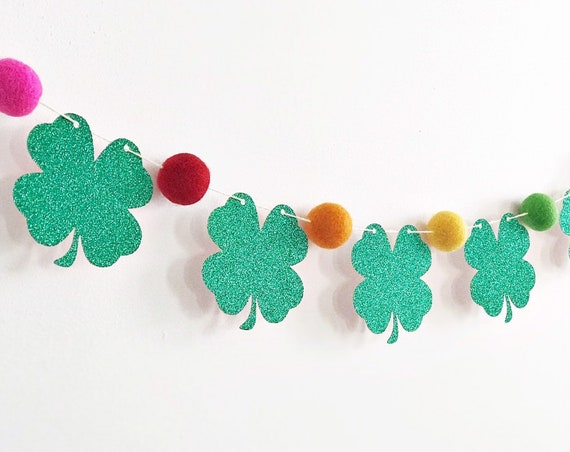 Shamrock Garland / Rainbow Felt Ball Garland / St Patrick's Day Garland / Shamrock Banner / Kiss Me I'm Irish / Rainbow Banner