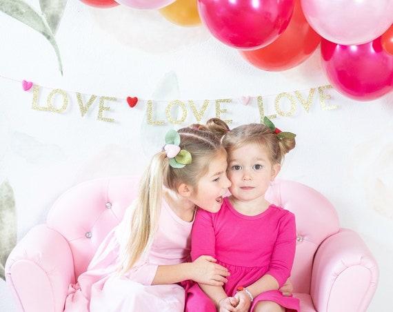 Love Garland / Love Love Love Banner / Valentine's Day Banner / Heart Garland / Felt Hearts / Felt Ball Garland / Glitter Banner / Holiday