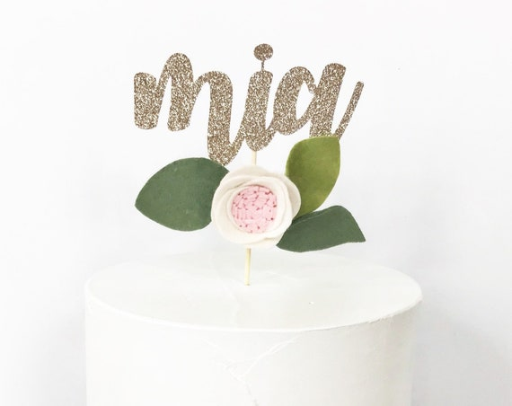 Custom Name Cake Topper / Felt Flower Cake Topper / Script Name Topper With Felt Flower / Floral Decor / 1st Birthday / Smash Cake Topper