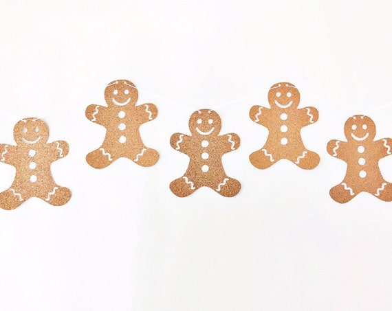 Gingerbread Man Banner / Gingerbread Man Garland / Gingerbread Decorations / Christmas Banner / Christmas Decorations / Holiday Garland