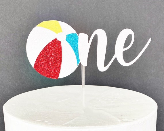 Beach Ball One Cake Topper | Beach First Birthday | 1st Birthday Smash Cake | One Year Old | Number One Cake Topper