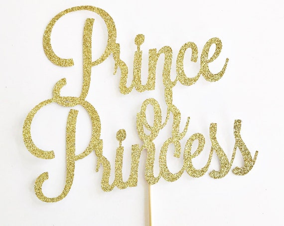 Prince or Princess Cake Topper / Gender Reveal Cake Topper / Gender Reveal Party Decorations / Girl or Boy / Blue or Pink / He or She
