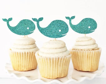 Whale Cupcake Toppers / Nautical Cupcake Toppers / Nautical Baby Shower / Ahoy It's A Boy