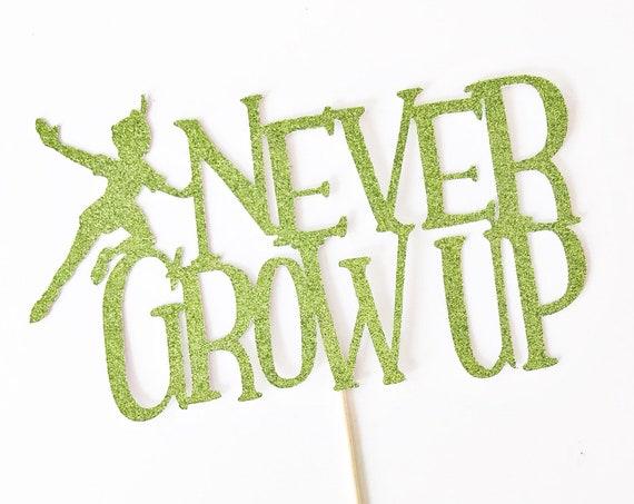 Never Grow Up Cake Topper / Peter Pan Cake Topper / Peter Pan Birthday Decorations / Never Grow Up Party / Tinkerbell / Neverland