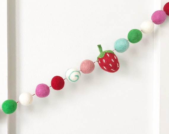 Strawberry Felt Ball Garland | Felt Strawberries | Pom Pom Garland | Berry Sweet Birthday Decorations | Strawberry Banner | Sweet One 1st