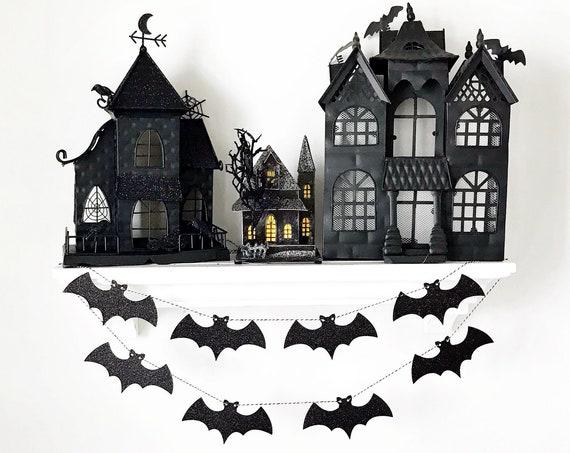 Bat Garland / Bat Banner / Black Glitter Bats / Halloween Banner / Halloween Decor / Halloween Garland / Spooky / Hocus Pocus / Boo