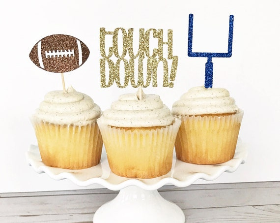 Football Cupcake Toppers / Football Party Decorations / Football Theme Birthday Party / Touchdown / Game Day Decor / Sports Theme Party