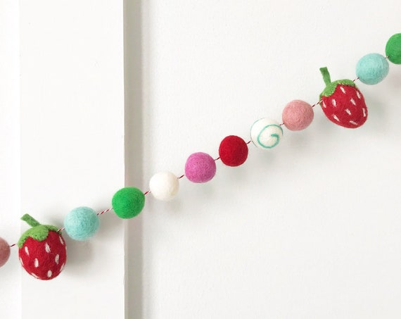 Strawberry Felt Ball Garland