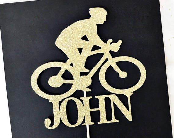 Cyclist Cake Topper / Custom Name Cake Topper / Biker Cake Topper / Male Cyclist / Male Athlete / Bicycle Cake Topper