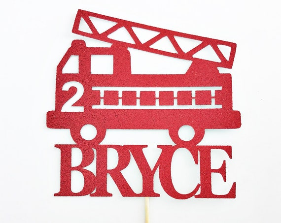 Firetruck Cake Topper with Name and Age | Custom Name Cake topper | Custom Age Cake Topper | Firetruck Birthday | Firetruck Party Decor
