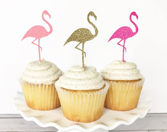 Flamingo Cupcake Toppers / Hot Pink Flamingo / Let's Flamingle / Flamingo Birthday Party / Flamingle Bachelorette Party / Tropical Cupcakes
