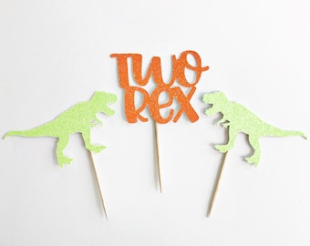 Two Cupcake Toppers / Two Rex Birthday Party / Dinosaur Cupcake Toppers / Dinosaur Birthday Party / 2nd Birthday / Two Years Old