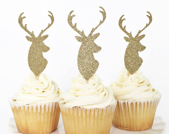 Deer Cupcake Toppers / Little Deer Baby Shower / Oh Deer / First Birthday Decor / Rustic Party Decorations / Antler Cupcake Toppers