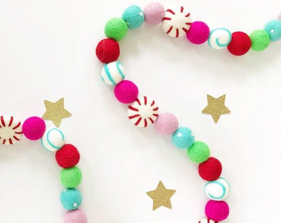 Christmas Garland / Felt Ball Garland / Woolie Garland / Wool Felt Balls / Christmas Decorations / Be Merry / Peppermint Felt Ball Garland