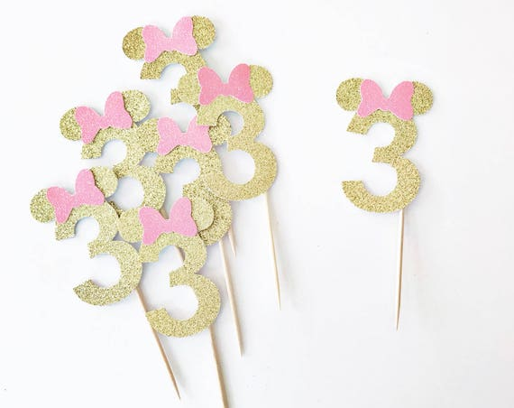 Minnie Mouse Cupcake Toppers / Minnie 3rd Birthday / Minnie Mouse Birthday Party Decor / Disney Party / Three Cupcake Toppers / 3 Years Old