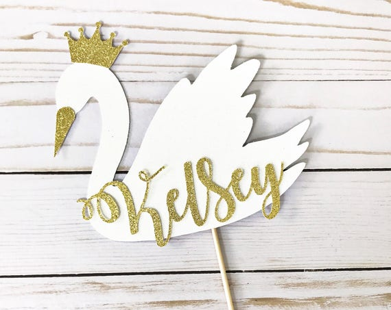 Swan Cake Topper / Custom Name Swan Cake Topper / Swan Party / Swan Princess / Swan Decorations / Personalized Cake Topper / Glitter Swan