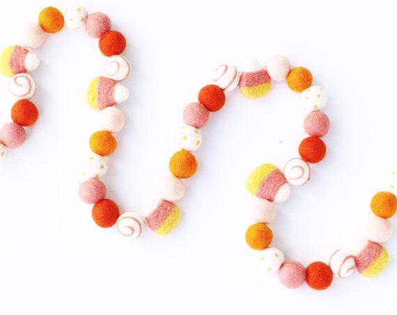 Candy Corn Felt Ball Garland | Halloween Decorations | Happy Halloween | Candy Corn Banner | Felt Ball Garland | Pom Pom Garland