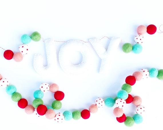 Joy Banner   Felt Letter Banner   Christmas Banner   Christmas Garland   Pom Pom Garland   Merry and Bright   Colorful Christmas