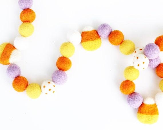 Candy Corn Felt Ball Garland | Halloween Banner | Halloween Decorations | Pom Pom Garland | Fall Decor | Felt Candy Corn | Happy Halloween