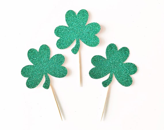 Shamrock Cupcake Toppers | St Patrick's Day Cupcake Toppers | St Patty's Day Decorations | Lucky One First Birthday | Shamrock Decorations