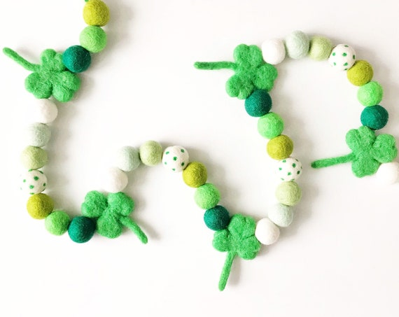 Shamrock Garland | St Patrick's Day Felt Ball Garland | St Patty's Day Pom Pom Garland | Green Ombre Felt Ball Garland | Felt Shamrocks