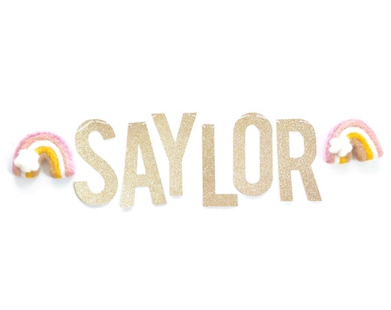 Custom Name Banner with Felt Rainbows | Birthday Banner | Personalized Name Sign | Rainbow Banner | Rainbow Nursery Decor | Bassinet Banner