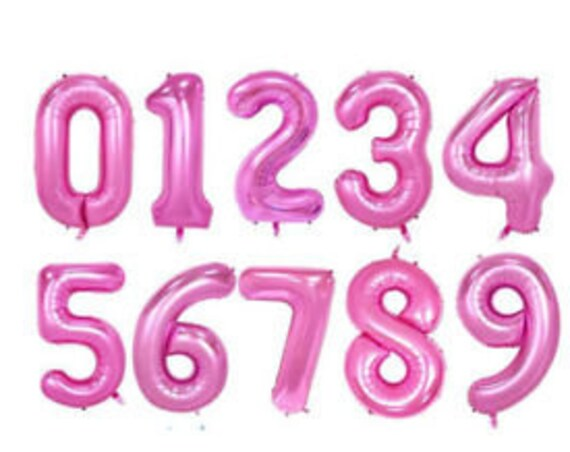 "40"" Pink Number Balloons / Jumbo Number Balloons / Pink Mylar Numbers / Foil Number Balloons / Girl Milestone Birthday Balloons / Hot Pink"