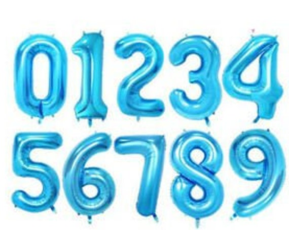 "40"" Blue Number Balloons / Jumbo Number Balloons / Blue Mylar Numbers / Foil Number Balloons / Milestone Birthday Balloons / Boy Birthday"