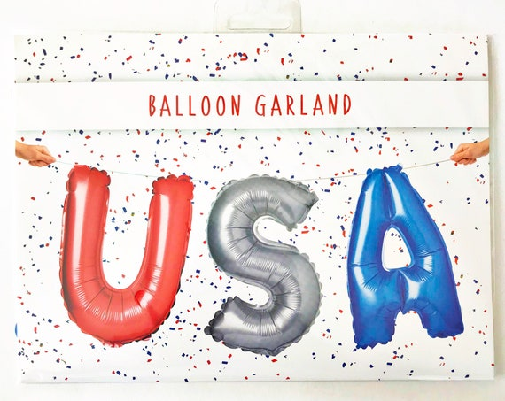 Fourth of July USA Balloon Kit | 16 Inch Letter Balloons | 4th of July Balloons | Red White & Blue Balloons