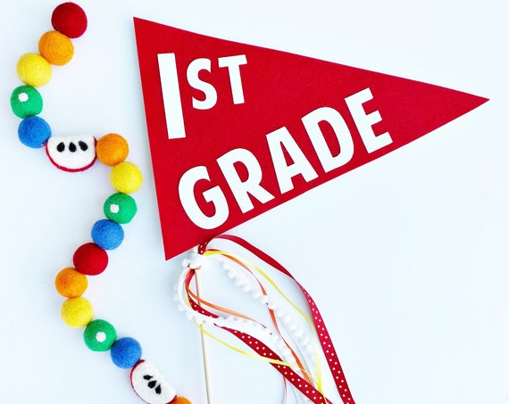 First Day of School Pennant Flag | First Day of School Sign | Kindergarten | First Grade | Second Grade | Preschool | Back to School Sign