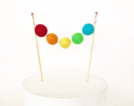Rainbow Felt Ball Cake Topper | Rainbow Pom Pom | Custom Cake Topper | Felt Ball Garland | Rainbow Decorations | St Patrick's Day