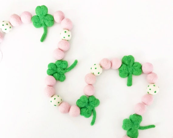 Pink and Green Shamrock Felt Ball Garland | St Patrick's Day Garland | St Patty's Decorations | Shamrock Banner | Pom Pom Garland