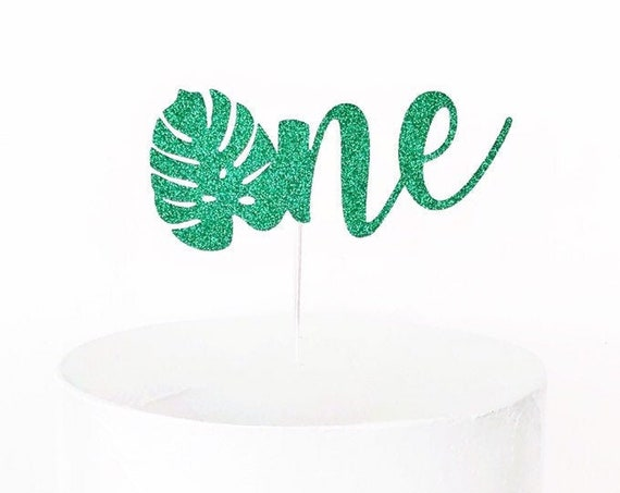 Monstera Leaf One Cake Topper