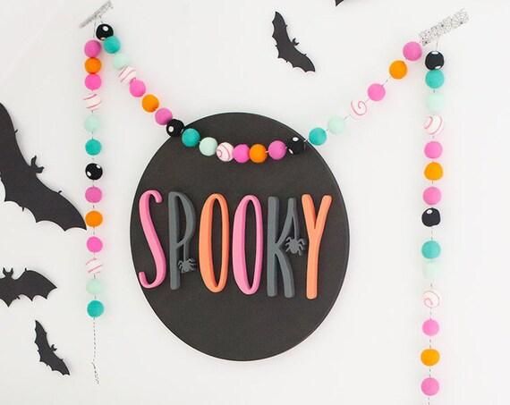 Halloween Felt Ball Garland | Fall Felt Ball Garland | Pom Pom Garland | Halloween Decorations | Fall Home Decor | Happy Halloween Sign