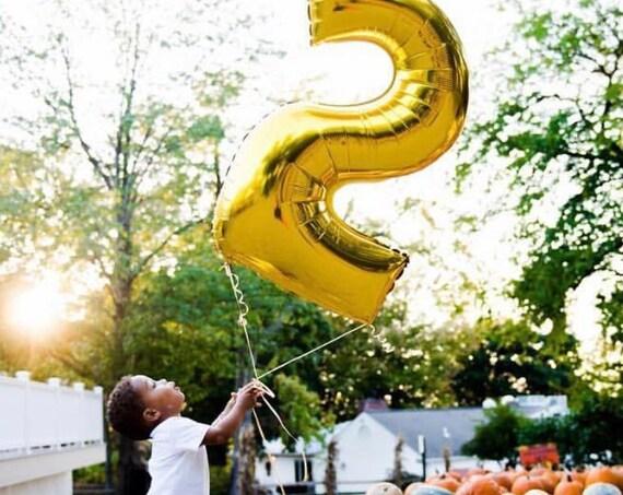Gold Number 2 Foil Balloon / Metallic Gold Jumbo Number 2 Balloon / 40 inch Number Balloon / Two Balloon / Second Birthday / Mylar Balloon