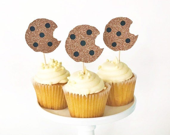 Cookie Cupcake Toppers / Cookie Monster Cupcake Toppers / Chocolate Chip Cookie Toppers / Milk and Cookies Party / Cookie Decorations