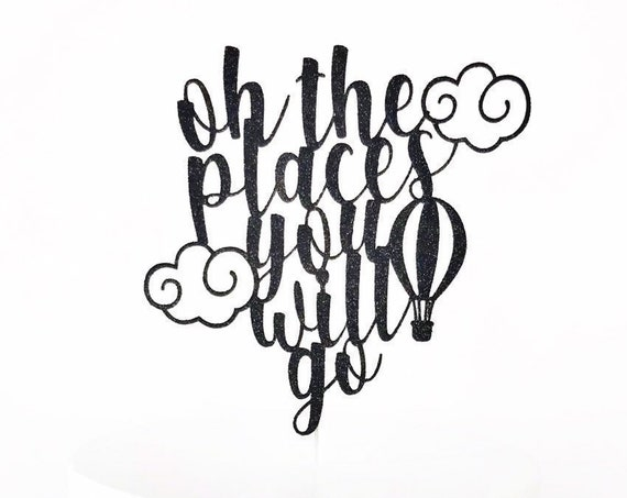 Oh the Places You Will Go Cake Topper / Adventure Awaits Baby Shower / Around The World / Hot Air Balloon Cake Topper / Boy Baby Shower