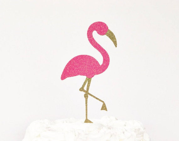 Flamingo Cake Topper / Let's Flamingle Bachelorette Party / Bridal Shower / Birthday Party / Flamingo Decorations / Glitter Flamingo