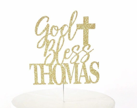 Personalized God Bless Cake Topper | Custom Name Baptism Cake Topper | Christening | First Communion | Baptism | Holy Cross Topper