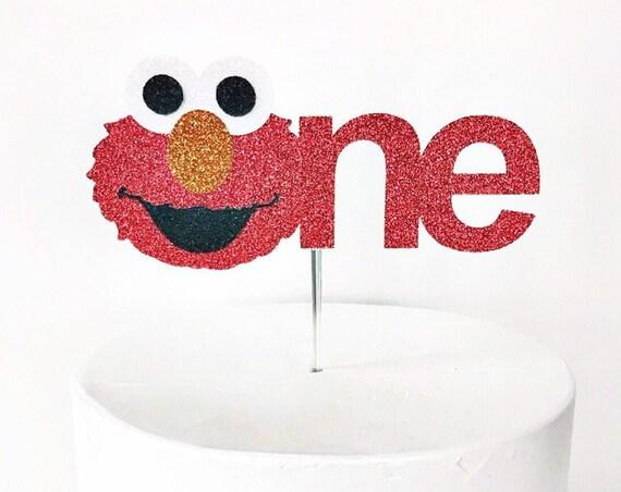 Elmo Cake Topper / Elmo First Birthday / Elmo Smash Cake Topper / Sesame Street Birthday Party / Elmo Decorations / One Cake Topper