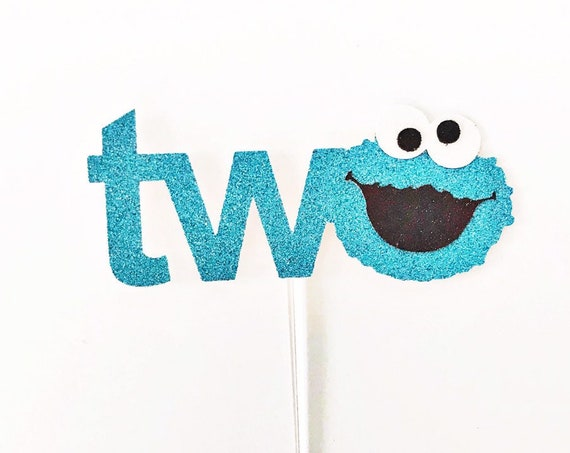 Cookie Monster Cake Topper / Cookie Monster Second Birthday / Number Two Cake Topper / Sesame Street / Elmo Cake Topper / 2nd Birthday Party