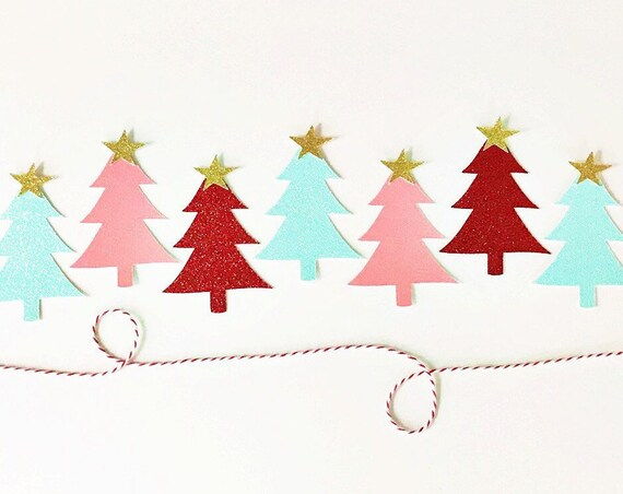 Christmas Tree Garland / Christmas Banner / Merry Christmas / Be Merry / Holiday Home Decorations / Christmas Party Decor / Glitter Garland